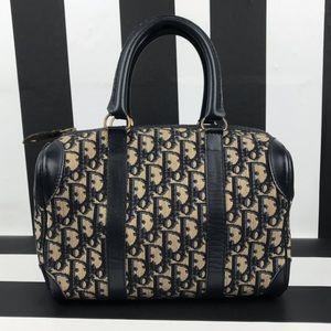 Christian Dior Monogram Blue Leather Boston Bag